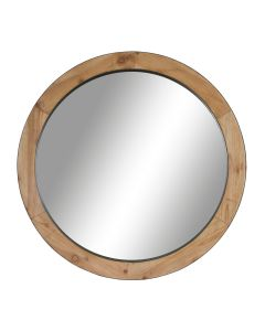 Wooden Round Framed Mirror